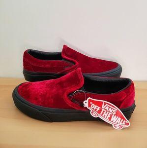 Womens Vans size 7 red velvet (oxblood) slip ons